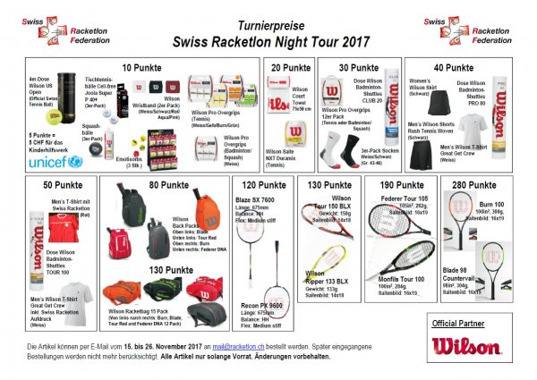 Preiskatalog Racketlon Night Tour 2017